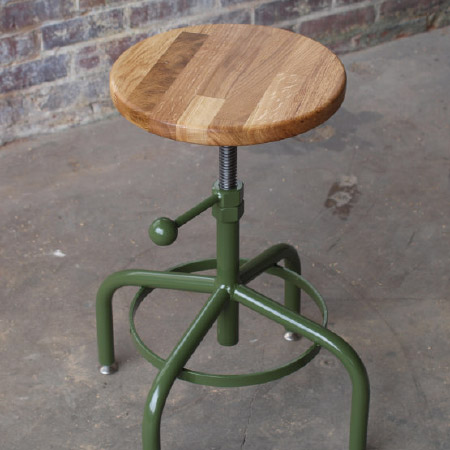 Industrial Stool Adjustable Drill Press Stool (Oak)