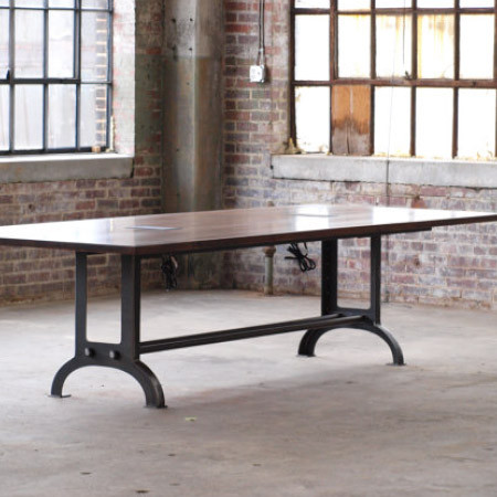 Large Beech Wood Industrial Conference Or Dining Room Table