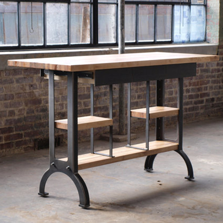 Maple Modern Industrial Kitchen Island Metal Machine Base