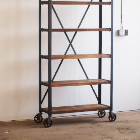 Walnut Engineers Industrial Bookcase Shelf Shelving Vintage bookshelves