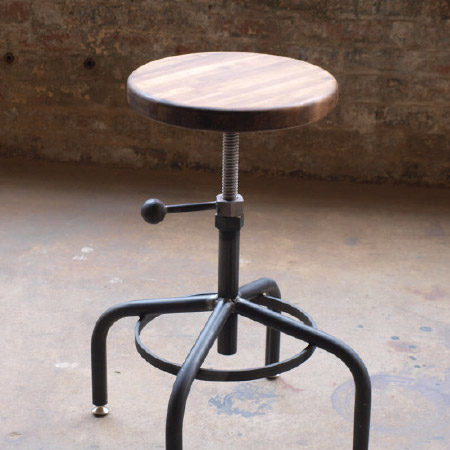Ordinaire Walnut Industrial Stool Adjustable Drill Press Stool